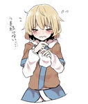1girl >_< abe_suke arm_warmers bangs blonde_hair blush closed_eyes commentary eyebrows_visible_through_hair flying_sweatdrops mizuhashi_parsee short_hair short_sleeves simple_background solo touhou translated upper_body white_background