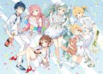 2boys 4girls :d ;) ahoge ancotaku aqua_eyes aqua_hair aqua_ribbon bangs blonde_hair blue_eyes blue_footwear bottle bouquet bow brown_eyes brown_hair cake commentary_request confetti dress floral_print flower food hair_bow hair_ornament hair_ribbon hairpin hatsune_miku holding holding_bottle holding_bouquet holding_plate kagamine_len kagamine_rin kaito long_hair looking_at_viewer megurine_luka meiko multiple_boys multiple_girls neck_ribbon no_socks official_art one_eye_closed one_side_up open_mouth open_toe_shoes pants pink_hair pink_ribbon plate polka_dot polka_dot_shirt ponytail red_footwear ribbon salute shirt shoes sitting smile sneakers socks standing string_of_flags thighhighs twintails upper_teeth very_long_hair vest vocaloid watermark white_footwear white_legwear white_pants white_ribbon white_shirt wine_bottle