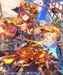 asano_shiki blush breasts brown_hair closed_mouth cloud copyright_name flower gun hair_flower hair_ornament hat holding holding_weapon japanese_clothes long_hair long_sleeves looking_at_viewer official_art original pink_eyes pirate pirate_hat rope sengoku_saga sky weapon