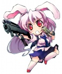 1girl animal_ears bunny_ears chibi dual_wielding duplicate gun handgun hs2000 lavender_hair long_hair machine_pistol magpul_fmg-9 nanaroku_(fortress76) necktie pistol red_eyes reisen_udongein_inaba socks solo submachine_gun touhou very_long_hair weapon