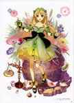 1girl :d absurdres atelier_(series) atelier_ayesha ayesha_altugle black_bow blonde_hair bow breasts brown_eyes cleavage collarbone faux_figurine flower full_body green_skirt hair_flower hair_ornament hidari_(left_side) highres long_hair looking_at_viewer medium_breasts open_mouth see-through simple_background skirt smile solo standing very_long_hair white_background