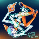 androgynous aqua_hair blue_eyes boots electricity greenriverknight grin headphones highres looking_at_viewer orange_legwear personification pokemon pokemon_(creature) rotom short_hair smile