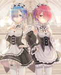 2girls apron black_ribbon black_skirt blue_eyes blue_hair bow breasts choker cleavage cowboy_shot detached_sleeves flower frilled_apron frilled_choker frilled_skirt frills garter_straps hair_flower hair_ornament hair_over_one_eye hair_ribbon hand_on_hip head_wreath highres kichi_(kichifav) locked_arms looking_at_viewer maid medium_breasts miniskirt multiple_girls neck_ribbon pantyhose pink_hair pink_ribbon purple_ribbon ram_(re:zero) re:zero_kara_hajimeru_isekai_seikatsu red_eyes rem_(re:zero) ribbon ribbon-trimmed_sleeves ribbon-trimmed_thighhighs ribbon_trim short_hair siblings sisters skirt small_breasts standing thighhighs white_apron white_bow white_flower white_legwear