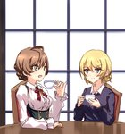 2girls :d ahoge bangs blonde_hair blue_eyes blue_sweater blush braid breasts buttons center_frills chair crossover cup darjeeling dress_shirt eyebrows_visible_through_hair girls_und_panzer green_eyes hexunart holding holding_cup idolmaster idolmaster_million_live! indoors jewelry light_brown_hair medium_breasts multiple_girls musical_note_necklace neck_ribbon necklace open_mouth pinky_out puffy_sleeves red_ribbon ribbon sakuramori_kaori shirt side_braid sitting smile st._gloriana's_school_uniform suspenders sweater swept_bangs table teacup trait_connection window