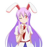 1girl ;3 animal_ears arm_behind_back arm_up blue_skirt bunny_ears cato_(monocatienus) commentary cowboy_shot finger_gun furrowed_eyebrows hair_between_eyes head_tilt lavender_hair long_hair necktie one_eye_closed pointing pointing_at_viewer red_eyes red_neckwear reisen_udongein_inaba shirt short_sleeves sidelocks simple_background skirt solo standing touhou untucked_shirt very_long_hair white_background white_shirt