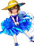 1girl amagai_tarou blue_dress blue_eyes bow breasts brown_hair collarbone dress flag_print from_above hair_between_eyes hat hat_ribbon highres japanese_flag looking_at_viewer looking_up medium_breasts ribbon shoes short_hair simple_background sitting sleeveless sleeveless_dress smile sneakers solo sun_hat tokino_sora tokino_sora_channel unmoving_pattern white_background white_bow white_footwear white_ribbon yellow_hat