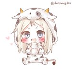 1girl :d animal_costume blue_eyes blush bottle chibi commission cow_costume cow_hood cow_tail girls_frontline grey_hair highres holding holding_bottle honyang hood hood_up long_hair looking_at_viewer milk_bottle mp5_(girls_frontline) open_mouth platinum_blonde sitting smile solo tail twitter_username v-shaped_eyebrows