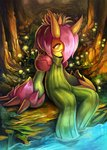 claws horns original partially_submerged pink_hair plant sitting smile solo stream tree yellow_eyes yilx