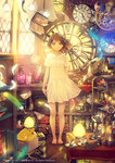 1girl 2016 :o analog_clock angel animal arms_at_sides balance_scale bare_arms bare_legs barefoot bicycle bird black_hair blue_eyes blurry book book_stack bookshelf bottle box branch cable candlelight candlestand cardboard_box chess_piece chick clock cloth company_name corded_phone cup curtains depth_of_field dress egg feathers flat_chest floating_hair floating_object floor flower flying_paper frame full_body gears gem glass glowing gradient_hair grimoire ground_vehicle hair_feathers heart highres in_container in_cup indoors jewelry jewelry_removed kerosene_lamp light_bulb light_particles looking_at_viewer magic magic_circle multicolored multicolored_eyes multicolored_hair muta nest newton's_cradle object_on_head paper parted_lips pawn pentagram phone phonograph photo_(object) plant plate projector quill red_eyes red_hair red_rose ring roman_numerals rose rotary_phone rubik's_cube rug saucer scroll shelf short_dress short_sleeves smile standing star statue suitcase sundress table tablecloth teacup toenails typewriter vase weighing_scale white_dress white_flower wooden_floor yan_xi yellow_eyes yohan12