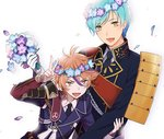 2boys aqua_hair armor brown_eyes brown_hair flower gotou_toushirou head_wreath ichigo_hitofuri japanese_armor male_focus military military_uniform multicolored_hair multiple_boys necktie nomuo_(shiromi) open_mouth petals smile sode streaked_hair touken_ranbu uniform v yellow_eyes