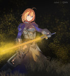 ahoge armor armored_dress artist_request blonde_hair breastplate excalibur fate/stay_night fate_(series) gauntlets glowing glowing_sword glowing_weapon grass highres juliet_sleeves long_sleeves looking_at_viewer puffy_sleeves saber short_hair smile sword weapon