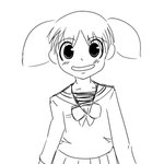 1girl :d azumanga_daiou blush bow bowtie child collarbone drawfag greyscale long_sleeves looking_at_viewer mihama_chiyo miniskirt monochrome open_mouth pleated_skirt sailor_collar school_uniform serafuku shirt short_twintails simple_background sketch skirt smile solo standing tareme twintails white_background