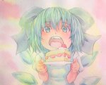1girl acrylic_paint_(medium) blue_eyes blue_hair bow bust cake cirno dress food fruit giving gradient gradient_background graphite_(medium) hair_bow highres looking_at_viewer open_mouth plate puffy_short_sleeves puffy_sleeves short_hair short_sleeves solo strawberry touhou traditional_media watercolor_(medium) wings yuyu_(00365676)