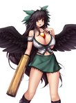 1girl :d arm_cannon bare_shoulders between_breasts black_hair black_wings bow breasts cleavage collarbone covered_nipples cowboy_shot feathered_wings green_skirt hair_bow hand_on_own_chest hater_(hatater) highres huge_breasts long_hair looking_at_viewer midriff miniskirt navel navel_piercing open_mouth piercing puffy_nipples red_eyes reiuji_utsuho simple_background skirt smile solo third_eye touhou very_long_hair weapon white_background wings