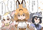3boys 3girls :3 :d animal_ear_fluff animal_ears blush bow bowtie breast_pocket breasts brown_eyes common_raccoon_(kemono_friends) elbow_gloves eyebrows_visible_through_hair fang fennec_(kemono_friends) fox_ears gloves grey_hair high-waist_skirt interlocked_fingers kemono_friends large_breasts lyrics multicolored_hair multiple_boys multiple_girls open_mouth orange_neckwear orange_skirt pink_shirt pocket puffy_short_sleeves puffy_sleeves raccoon_ears serval_(kemono_friends) serval_ears serval_print serval_tail shirt short_hair short_sleeves simple_background skirt smile tail tanaka_kusao translated white_background yellow_neckwear