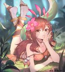 1girl :o animal bare_arms bare_shoulders barefoot bell black_shorts blonde_hair blurry blurry_foreground breasts brown_eyes brown_hair brown_shirt camisole chameleon chin_rest collarbone crop_top dated depth_of_field facial_mark feet flower grass hair_flower hair_ornament highres jewelry jingle_bell leaf league_of_legends legs_up lizard_girl lizard_tail long_hair looking_at_viewer lying medium_breasts midriff multicolored_hair nature necklace neeko_(league_of_legends) on_stomach outdoors parted_lips pink_flower rock se.a shirt shorts signature sleeveless sleeveless_shirt soles solo strap_slip tail tam_tambourine the_pose toeless_legwear toes two-tone_hair two_side_up
