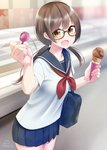 1girl :d bag bangs black-framed_eyewear blue_sailor_collar blue_skirt blurry blurry_background blush brown_eyes brown_hair collarbone commentary_request depth_of_field fingernails food glasses hair_between_eyes highres holding holding_food holding_spoon ice_cream ice_cream_cone indoors long_hair looking_at_viewer low_twintails nail_polish neckerchief nekobaka open_mouth original pink_nails pleated_skirt red_neckwear sailor_collar school_bag school_uniform serafuku shirt short_sleeves signature skirt smile solo spoon twintails white_shirt