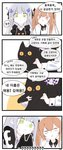 2girls 4koma :3 :d ? animal bangs black_bow black_cat blush bow brown_hair cat collared_shirt comic commentary_request eyebrows_visible_through_hair facial_mark girls_frontline green_eyes grey_hair hair_bow hair_ornament highres hk416_(girls_frontline) holding holding_animal korean_commentary korean_text long_hair multiple_girls open_mouth outline parted_lips shirt smile sweat tosyeo twintails ump9_(girls_frontline) v-shaped_eyebrows white_outline white_shirt