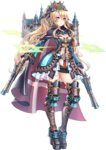 1girl artist_request black_ribbon blonde_hair blue_dress blue_eyes boots capelet castle crown dress dual_wielding flower full_body gun hair_between_eyes hair_flower hair_ornament hair_ribbon high_ponytail holding holding_gun holding_weapon kronborg_(oshiro_project) long_hair looking_at_viewer official_art oshiro_project oshiro_project_re platform_boots ribbon solo thigh_boots thighhighs transparent_background very_long_hair weapon