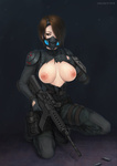 1girl assault_rifle bad_id belt breasts brown_eyes brown_hair christine_yamata cleavage gloves gun hair_over_one_eye kneeling large_breasts m4_carbine resident_evil resident_evil_operation_raccoon_city respirator rifle shell_casing short_hair shoulder_pads solo sweat sweater torn_clothes vasily_(run211) watch weapon