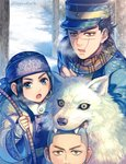 1girl 2boys :d asirpa bandana biting black_hair blue_coat blue_eyes bow_(weapon) brown_eyes brown_scarf corset dog earrings facial_scar golden_kamuy hagino_kouta holding holding_bow_(weapon) holding_weapon jewelry long_hair looking_at_viewer multiple_boys open_mouth outdoors retar scar scar_on_cheek scarf shiraishi_yoshitake short_hair smile snow sugimoto_saichi twitter_username upper_body weapon