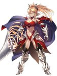1girl age_progression armor bikini_armor blonde_hair breasts cape cleavage closed_mouth collarbone fate/grand_order fate_(series) full_body green_eyes highres horns large_breasts leotard long_hair looking_at_viewer mordred_(fate) mordred_(fate)_(all) nasaniliu pauldrons ponytail simple_background sword toned weapon white_background