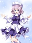 1girl :d blue_eyes boots frilled_skirt frills hair_between_eyes hat highres juliet_sleeves lavender_hair letty_whiterock long_sleeves looking_at_viewer open_mouth outstretched_arms puffy_sleeves purple_vest ruu_(tksymkw) scarf short_hair skirt smile snowing solo spread_arms touhou vest white_footwear white_scarf