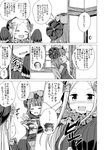 2girls :< :d abigail_williams_(fate/grand_order) absurdres aikawa_ryou arms_up bangs blush bow closed_eyes closed_mouth comic commentary_request dress eyebrows_visible_through_hair fate/grand_order fate_(series) flying_sweatdrops forehead greyscale hair_bow hair_ornament hat highres holding holding_plate indoors japanese_clothes katsushika_hokusai_(fate/grand_order) kimono long_sleeves monochrome multiple_girls o_o open_mouth parted_bangs parted_lips plate polka_dot polka_dot_bow profile sleeves_past_fingers sleeves_past_wrists smile translation_request triangle_mouth wavy_mouth window