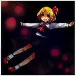 1girl ascot blonde_hair bow dark hair_bow mayo_(mayomr29) outstretched_arms red_eyes rumia sketch solo touhou