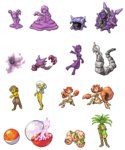 akai_(ugokashitari) child cloyster commentary_request drowzee electrode exeggcute exeggutor full_body gengar ghastly ghost goo_girl grimer haunter hypno kingler krabby lamia monster_girl muk multiple_girls no_humans onix personification pixel_art pokemon shellder simple_background tagme transparent_background voltorb