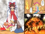 5girls a_dog_of_flanders american_flag_dress american_flag_legwear anger_vein aura blonde_hair bow brown_hair burning chestnut_mouth clenched_hand closed_eyes clownpiece commentary_request detached_sleeves dog dress drill_hair eyebrows_visible_through_hair fairy_wings fire hair_bow hair_tubes hakurei_reimu hat head_bump japanese_clothes jester_cap long_hair luna_child miko multiple_girls neck_ruff orange_hair pantyhose shaded_face shirosato short_hair short_twintails sleeping smile smoke star_sapphire steam sunny_milk tokin_hat torch touhou touhou_sangetsusei translation_request tree twintails wings