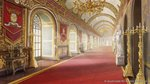 arch candle candlestand ceiling chandelier company_name fantasy granadia_saga hallway indoors light_rays no_humans official_art palace red_carpet scenery shiki_makoto statue sunbeam sunlight table tapestry tile_floor tiles urn vanishing_point watermark
