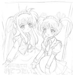 2girls alternate_costume apron cowboy_shot dress enmaided eyebrows eyebrows_visible_through_hair fate_testarossa flipper frills greyscale holding lineart long_sleeves looking_at_viewer lyrical_nanoha mahou_shoujo_lyrical_nanoha maid maid_headdress monochrome multiple_girls necktie takamachi_nanoha translation_request tray twintails waitress