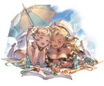 2girls almeida_(granblue_fantasy) alpha_transparency bangs barefoot beach_umbrella bikini black_bikini blonde_hair blush book bottle bracelet breasts choker cleavage cloud collarbone cooler crystal dark_skin day dolphin_earrings draph earrings flower full_body gradient_hair granblue_fantasy hair_between_eyes hair_flower hair_ornament hat horns io_euclase jewelry large_breasts long_hair lying minaba_hideo multicolored_hair multiple_girls necklace official_art on_stomach open_mouth outdoors pointy_ears red_ribbon ribbon ribbon_choker seashell shell sky smile swimsuit transparent_background twintails umbrella very_long_hair white_hat