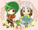 2girls :d androgynous aqua_dress aqua_legwear asellus_(saga_frontier) bare_shoulders blush breasts brown_hair chibi collarbone curly_hair dress elbow_gloves eyelashes flower food formal frills fruit fruit_background full_body gloves green_eyes green_hair hair_flower hair_ornament hama_(fadge-candy) hand_on_hip hand_to_own_mouth headdress holding holding_sword holding_weapon juliet_sleeves light_smile long_hair long_sleeves looking_at_viewer medium_breasts multiple_girls off-shoulder_dress off_shoulder open_mouth pink_gloves polka_dot polka_dot_background princess_white_rose puff_and_slash_sleeves puffy_short_sleeves puffy_sleeves red_eyes rose saga saga_frontier short_dress short_hair short_sleeves shorts single_glove skirt_hold small_breasts smile standing strawberry strawberry_background sword thighhighs turnip weapon white_flower white_rose yellow_gloves yellow_sleeves