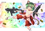 1girl 2019 animal_ears bell breasts budget_sarashi cat_ears cat_tail collar dual_wielding fang flip-flops green_eyes green_hair groin gun hase_yu holding imi_uzi jingle_bell kriss_vector navel open_mouth original revealing_clothes sandals sarashi shell_casing short_hair small_breasts smile solo submachine_gun tail trigger_discipline weapon