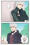 2boys 2koma >:( blue_eyes comic dangerousbride devil_may_cry devil_may_cry_5 dragon_ball dragon_ball_z father_and_son fingerless_gloves gloves grey_hair grin highres hood hoodie long_sleeves looking_at_another middle_finger multiple_boys nero_(devil_may_cry) open_mouth parody smile spoilers torn_clothes torn_sleeves vergil