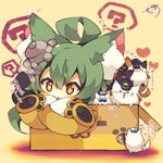 1girl :3 >_< ? ahoge akashi_(azur_lane) animal_ear_fluff animal_ears azur_lane bangs blue_eyes blush box cardboard_box cat cat_ears chibi closed_mouth dress eyebrows_visible_through_hair green_hair hair_between_eyes heart highres in_box in_container long_hair long_sleeves muuran orange_hair parted_lips signature sleeves_past_fingers sleeves_past_wrists solo spoken_question_mark star star-shaped_pupils symbol-shaped_pupils translation_request white_dress wide_sleeves