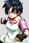 1girl bangs black_gloves black_hair blue_eyes clenched_hands collarbone commentary_request dragon_ball dragon_ball_z eyelashes fighting_stance flat_color gloves grey_background hands_up open_mouth purple_shirt shirt short_hair sleeveless sleeveless_shirt solo st62svnexilf2p9 upper_body v-shaped_eyebrows videl white_shirt