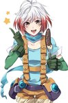 1girl :d antenna_hair banana bangs blue_shirt chocolate_banana collarbone cowboy_shot food fruit gloves green_gloves holding index_finger_raised kirimi_maguro looking_at_viewer multicolored_hair open_mouth orange_eyes orange_shorts pascal pouch red_hair shirt short_hair short_sleeves shorts simple_background smile solo star suspender_shorts suspenders tales_of_(series) tales_of_graces teeth two-tone_hair white_background white_hair