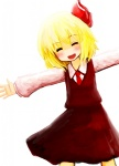 1girl bad_id bad_pixiv_id blonde_hair blush closed_eyes hair_ribbon mugi_(banban53) necktie outstretched_arms ribbon rumia short_hair smile solo spread_arms touhou