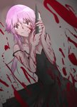 1girl absurdres black_dress blood blood_on_face blood_splatter bloody_clothes bloody_weapon breasts cleavage collarbone dress dutch_angle floating_hair gasai_yuno grey_background hair_between_eyes highres holding holding_knife knife long_hair looking_at_viewer mirai_nikki off_shoulder pink_hair red_eyes shiliuye_feiyu sleeveless sleeveless_dress small_breasts smile solo standing weapon