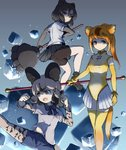 3girls :o african_wild_dog_(kemono_friends) animal_ears ankle_boots bangs bear_ears bear_girl bear_paw_hammer bear_tail bike_shorts black_gloves black_hair black_neckwear black_shorts black_skirt blue_background blue_shorts boots bow bowtie breasts brown_bear_(kemono_friends) circlet clenched_hands closed_mouth collared_shirt commentary_request denim denim_shorts dog_ears dog_girl dog_tail elbow_gloves fingerless_gloves frown gloves golden_snub-nosed_monkey_(kemono_friends) gradient gradient_background gradient_hair grey_legwear hair_between_eyes high_collar high_ponytail highleg highleg_leotard highres holding holding_staff kemono_friends kicking large_breasts layered_sleeves leotard long_hair long_sleeves looking_at_viewer looking_to_the_side medium_breasts miniskirt monkey_ears monkey_girl monkey_tail multicolored_hair multiple_girls no_nose open_mouth orange_hair pantyhose pantyhose_under_shorts parted_bangs pleated_skirt ponytail purple_eyes serious shirt short_hair short_sleeves shorts shorts_under_skirt simple_background skirt staff standing standing_on_one_leg streaked_hair suginakara_(user_ehfp8355 swept_bangs tail thighhighs two-tone_hair underlighting v-shaped_eyebrows white_hair white_shirt white_skirt wing_collar yellow_gloves yellow_legwear yellow_leotard
