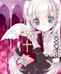 1girl angel angel_wings book hato_rami holding holding_book long_hair looking_at_viewer original parted_lips rosary silver_eyes silver_hair solo twintails wings