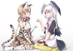 2girls bare_shoulders belt bird_tail bird_wings black-tailed_gull_(kemono_friends) black_hair blonde_hair boots bow bowtie brown_hair commentary_request dress elbow_gloves eyebrows_visible_through_hair facing_another gloves head_wings kemono_friends long_hair looking_at_another multicolored_hair multiple_girls neckerchief ocelot_(kemono_friends) ocelot_ears ocelot_print ocelot_tail pantyhose paw_pose sailor_collar scarf shoes short_hair short_sleeves signature sitting skirt smile tatsuno_newo thighhighs vest wariza white_hair wings