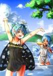 2girls antennae arms_up bangs bloomers blue_bow blue_eyes blue_hair blue_sky bow butterfly_wings cirno closed_eyes cloud day eternity_larva hair_bow highres ice ice_wings kourou_(kouroukun) looking_at_another mountain multiple_girls one_eye_closed panties see-through short_hair sky tanned_cirno touhou underwear wading wet wings
