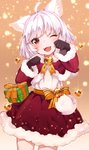 1girl ;d animal_ear_fluff animal_ears bell black_gloves box capelet cat_ears cat_tail christmas christmas_ornaments commentary fangs fur-trimmed_capelet fur-trimmed_skirt fur-trimmed_sleeves fur_trim gift gift_box gloves highres hoshi_usagi jingle_bell one_eye_closed open_mouth original paw_pose red_eyes sash smile star tail white_hair
