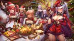 6+girls alcohol alsael_(iron_saga) alternate_costume ann_(iron_saga) apple apron arm_up armpits baguette bangs black_dress black_gloves black_jacket black_neckwear blonde_hair blue_eyes blush bottle bow bowtie bread breasts cape champagne_flute character_request choker christmas christmas_lights christmas_ornaments christmas_tree cleavage cleavage_cutout closed_mouth commentary confetti crop_top cup detached_sleeves dress drinking_glass food fork fruit fur-trimmed_cape fur-trimmed_crop_top fur-trimmed_dress fur-trimmed_gloves fur_trim garter_straps gloves green_eyes gurumi_(iron_saga) hair_between_eyes hair_ornament hair_ribbon hairclip halter_dress hat highres holding holding_cup holding_sack indoors iron_saga jacket kirastar_(iron_saga) knife large_breasts logo long_hair long_sleeves looking_at_viewer mango medium_breasts multiple_girls official_art onion open_mouth pale_skin parted_lips party_popper plate pom_pom_(clothes) ponytail pork purple_eyes purple_hair red_cape red_dress red_eyes red_hair ribbon sack santa_costume santa_hat shawl shirt sidelocks silver_hair skirt sleeveless small_breasts smile sparkle spill stairs star star-shaped_pupils steak stuffed_toy symbol-shaped_pupils table trista_(iron_saga) turkey twintails waist_apron white_dress white_shirt zjsstc