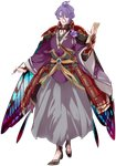 1boy armor blue_eyes calligraphy_brush cape flower full_body hakama highres homerun_ken japanese_armor japanese_clothes kasen_kanesada katana kiwame_(touken_ranbu) male_focus official_art open_mouth paintbrush paper purple_hair sheath sheathed smile sword touken_ranbu transparent_background weapon