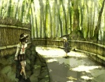2girls bad_id bad_pixiv_id bamboo bamboo_forest commentary forest kyoto looking_back maribel_hearn multiple_girls nature road running scenery shade sunlight tokoroten_(hmmuk) touhou usami_renko wall